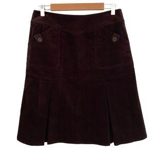 Free Co. Pleated A-Line Plum Corduroy Skirt